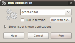 Run Application dialog: gconf-editor