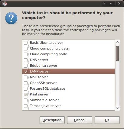 Select LAMP server