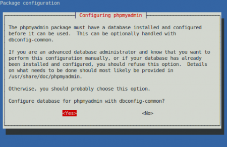 phpMyAdmin - dbconfig-common