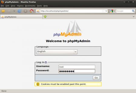 phpMyAdmin - login